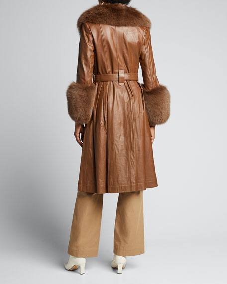 Foxy Long Lamb Leather Fox Fur-Trim Coat, Brown