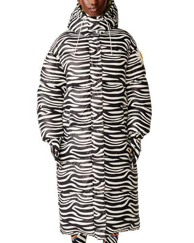Richard Quinn Tippi Long Zebra Puffer Jacket w/ Hood