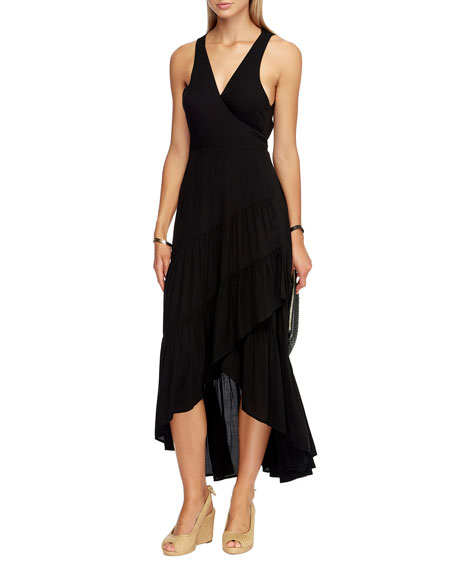 Image 1 of 1: Tiered High-Low Coverup Wrap Dress