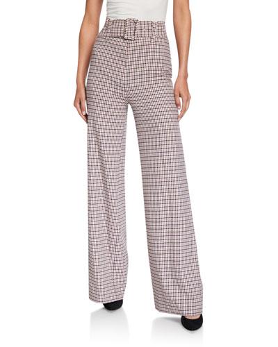 Eliza Wide-Leg Check Pants