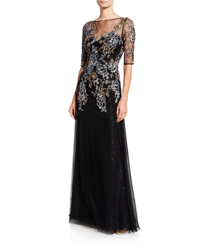 6bd0a3648 Metallic Floral Embroidered Elbow-Sleeve Overlay Gown