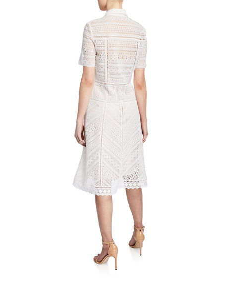 Annemarie Snap-Front Lace Shirtdress