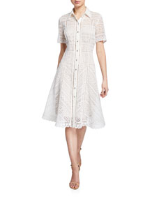 2f74a1ef1078 Elie Tahari Annemarie Snap-Front Lace Shirtdress