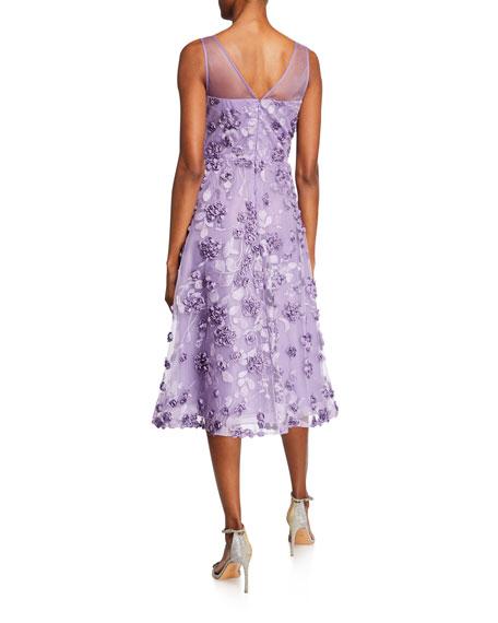 ae76581cc92cf Rickie Freeman for Teri Jon Tulle Tea-Length Dress w/ Floral Appliques