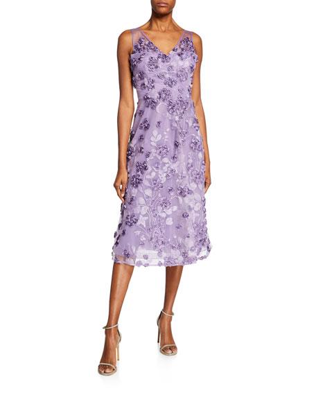 0744df4d2d4e Rickie Freeman for Teri Jon Tulle Tea-Length Dress w/ Floral Appliques