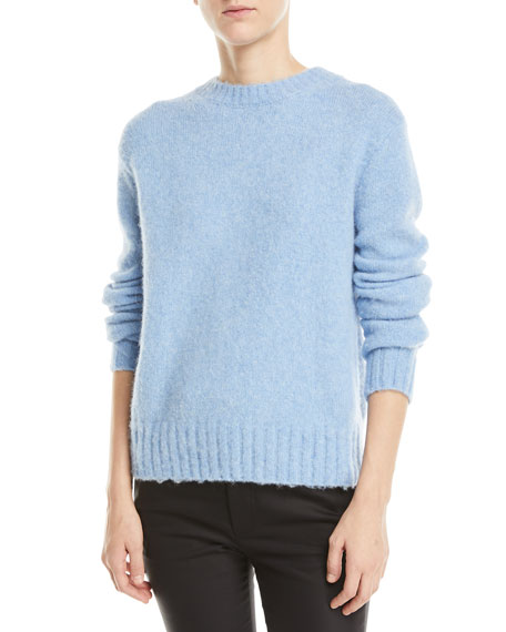 Brushed Wool-Alpaca Crewneck Pullover Sweater