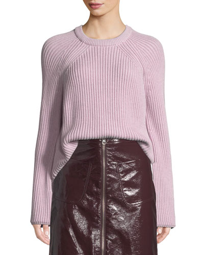 Ribbed Lace-Up Pullover Sweater