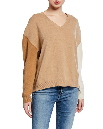 Tricolor V-Neck Long-Sleeve Sweater