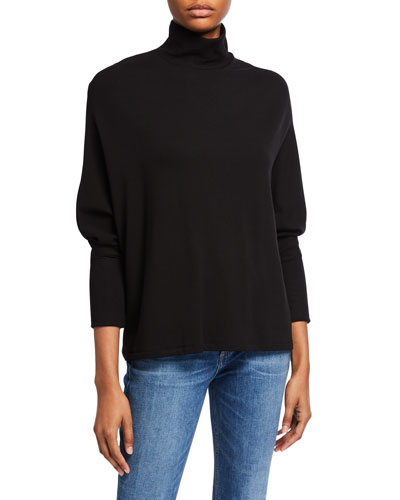 French Terry Relaxed Turtleneck Sweater