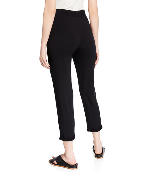 Drawstring French Terry Pants with Rolled Hem