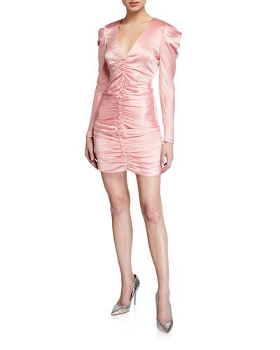 Crepe Back Satin Puff-Sleeve Cocktail Dress
