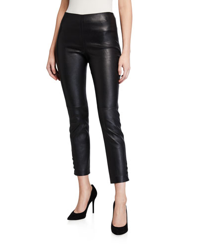Bristol Snap-Cuff Lamb Leather Crop Leggings