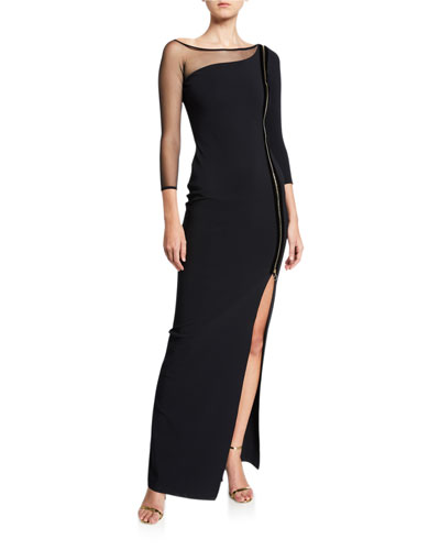 Asymmetric Zip-Front 3/4-Sleeve Gown with Mesh Inset