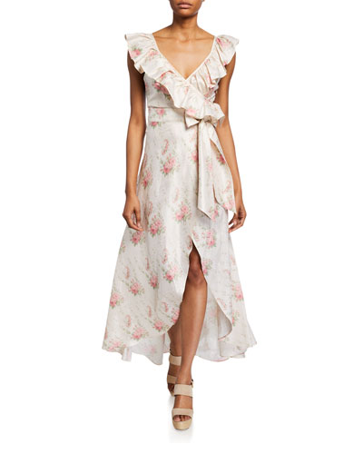 Cosmo Floral Wrap-Front Ruffle Dress
