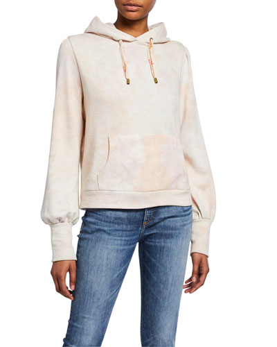 Linette Tie-Dye Blouson-Sleeve Hoodie Sweatshirt