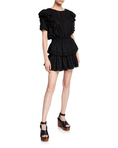 Natasha Ruffle Lace-Trim Mini Dress