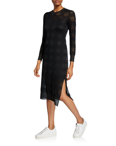 Charlotte Knit Plaid Long-Sleeve Dress