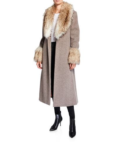 Irina Belted Coat with Faux Fur Trim