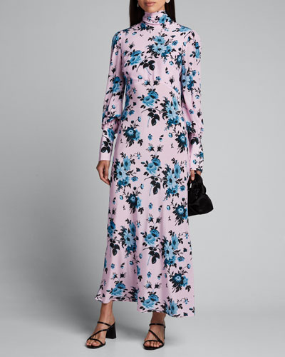 High-Neck Silk Bias Floral-Print Dress