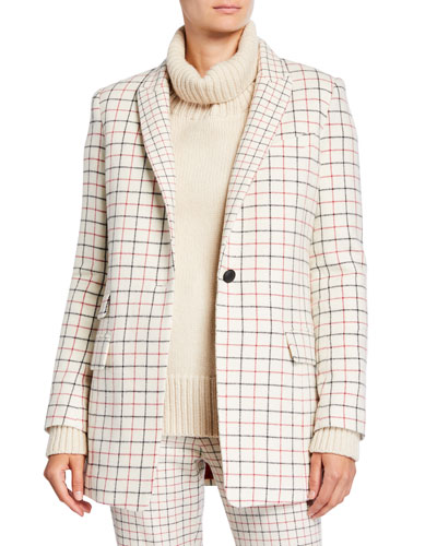 Nova Single-Button Check Wool Blazer