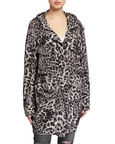 Hooded Leopard-Print Cargo Jacket