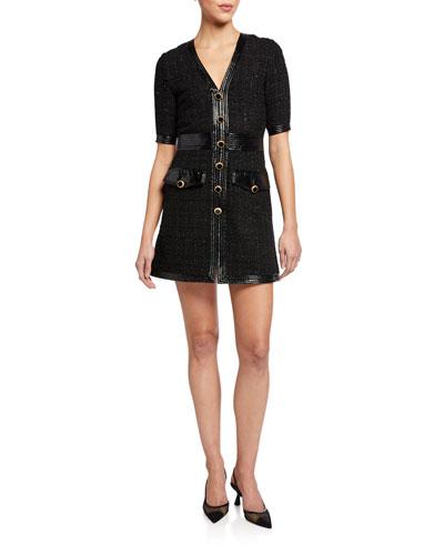Simona Tweed Button-Front Dress