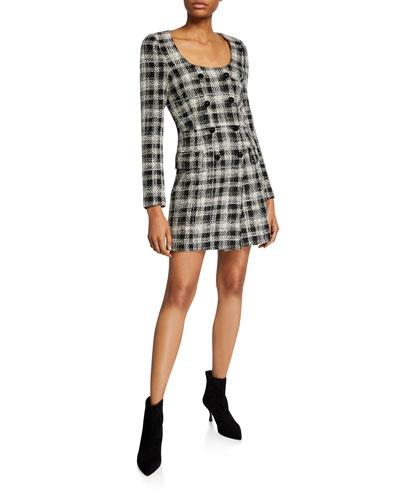 Sondra Double-Breasted Plaid Dress