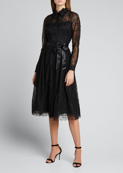 Lace Shirtdress w/ Beaded Collar
