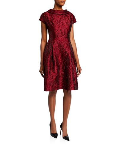 fe39cc0643c9 Roll-Neck Cap-Sleeve Textured Tonal Jacquard Dress Quick Look. Rickie  Freeman for Teri Jon