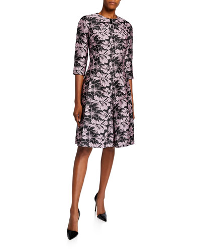 7203dc1e86df Bow-Neck 1/2-Sleeve Floral Jacquard Dress Quick Look. Rickie Freeman for  Teri Jon