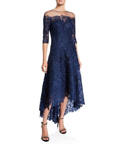 Lace High-Low Mesh-Yoke Gown