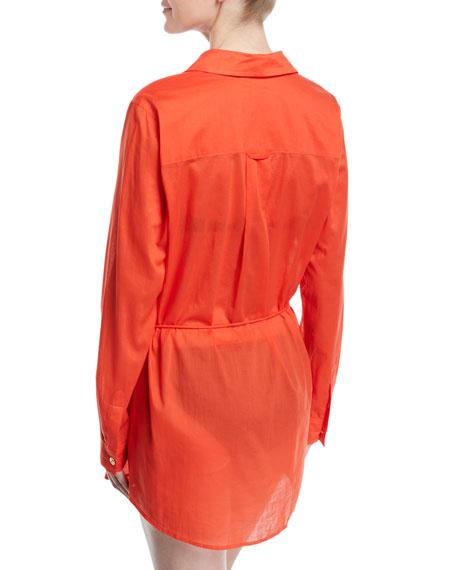 32e3874d4e Tory Burch Brigitte Long-Sleeve Cotton Beach Tunic