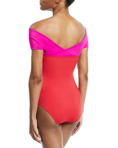 Zenia Off-the-Shoulder One-Piece Swimsuit