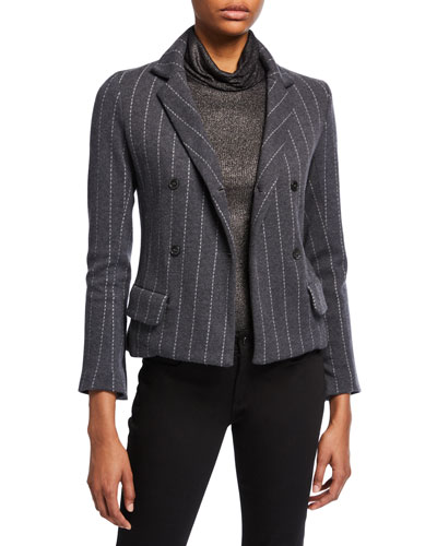 Striped Long-Sleeve Double-Breasted Blazer