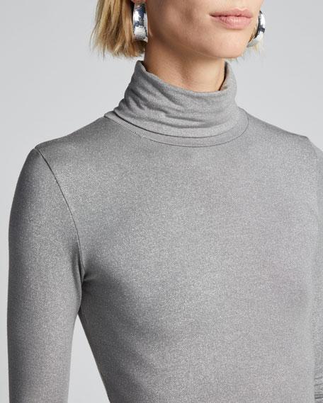 Metallic Long-Sleeve Turtleneck Top