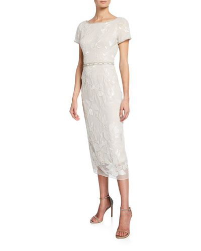 b3177277d4a2 Short-Sleeve Metallic Floral Embroidered Sheath Dress w/ Beaded Trim Quick  Look. Marchesa Notte