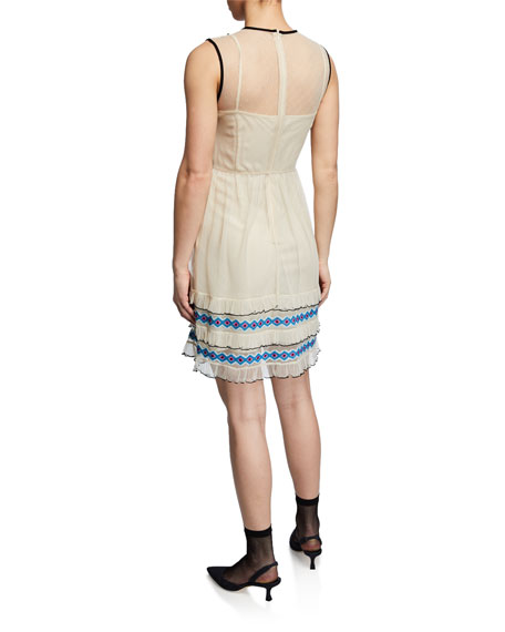 Embroidered Sleeveless Ruffle Dress