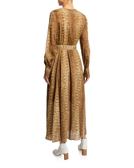 Coleen Belted Long-Sleeve Dress