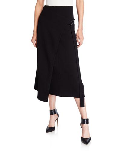 Compact Wool Midi Wrap Skirt