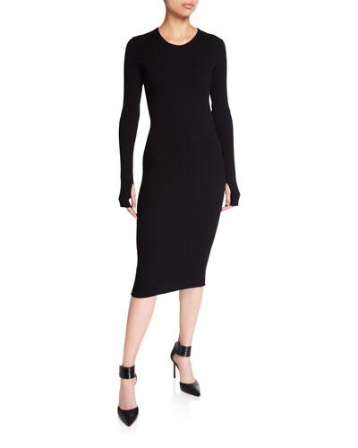 Crewneck Long-Sleeve Rib-Knit Dress