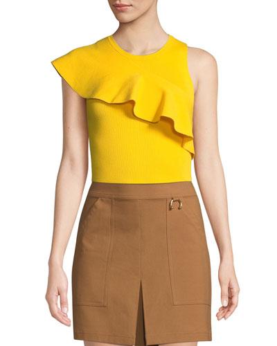 Malia Diagonal-Ruffle Jersey Top