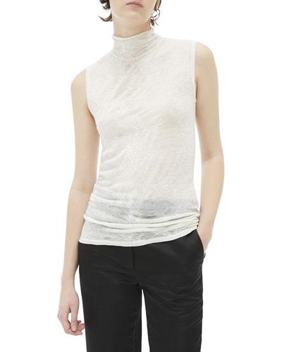 Elasticated Wool Sleeveless Turtleneck Top