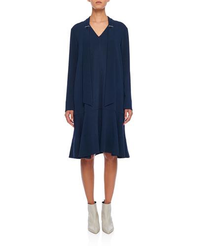 Savannah Crepe Easy Tie-Neck Dress