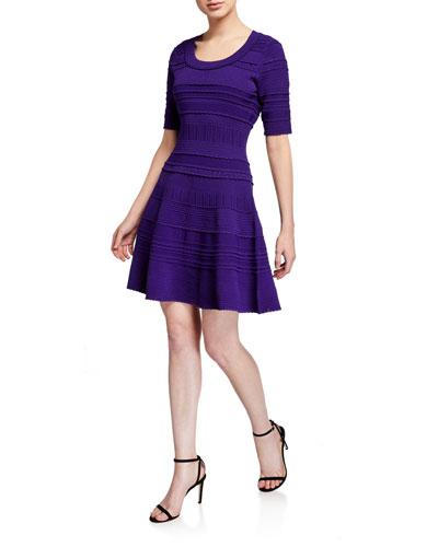 Scoop-Neck Elbow-Sleeve Textured Tech Dress