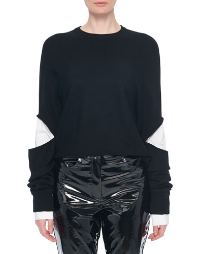 Double Layer Slit-Sleeve Pullover Sweater