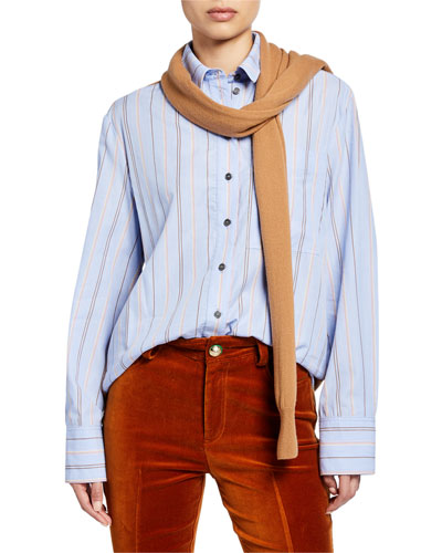 Striped Long-Sleeve Button-Down Shirt with Knit Combo