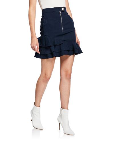 Ruffle-Hem Zip-Front Mini Skirt