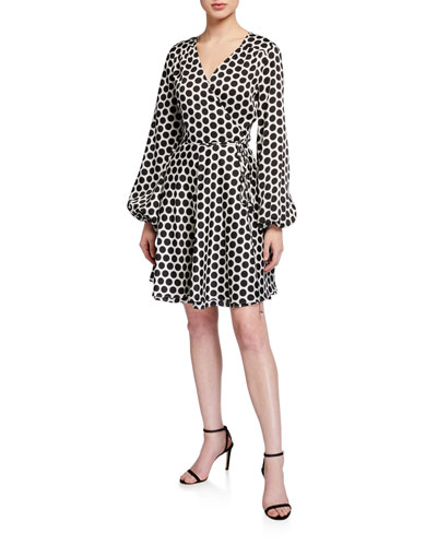 Siena Dot Long-Sleeve Twill Wrap Dress