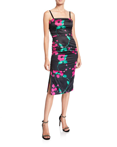 Dayna Painted Floral Sleeveless Satin Cocktail Dress
