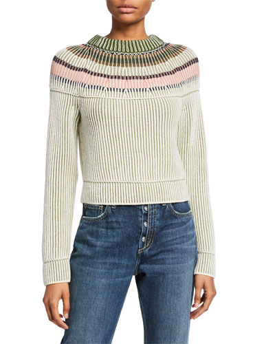 Striped Long-Sleeve Crewneck Wool Sweater